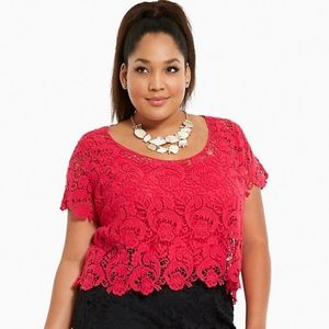 Pink Torrid Crochet Lace Crop Top